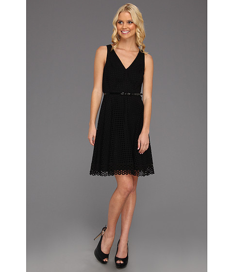 Cheap Donna Morgan V Neck Dress With Full Skirt Black