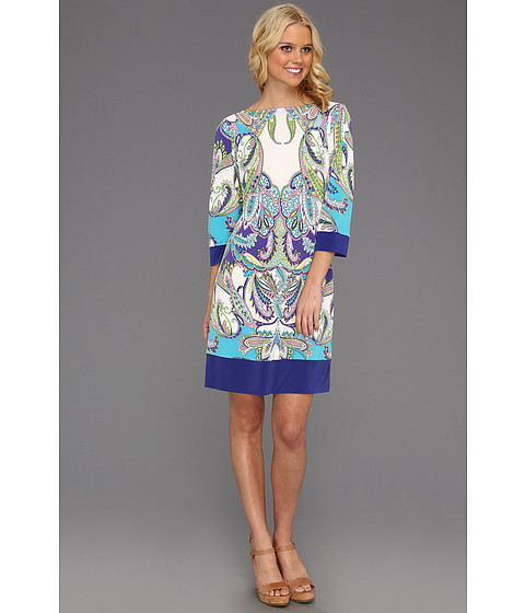 Cheap Donna Morgan Callie Jersey Shift Dress Marina Mist Multi Purple Iris
