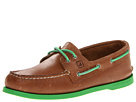 Sperry Top-Sider - A/O 2-Eye Neon (Dark Tan/Green) - Footwear