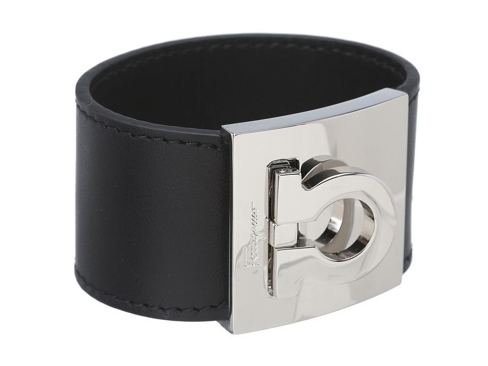 Salvatore Ferragamo - Gancini Cuff Bracelet (Nero/Pld) Bracelet