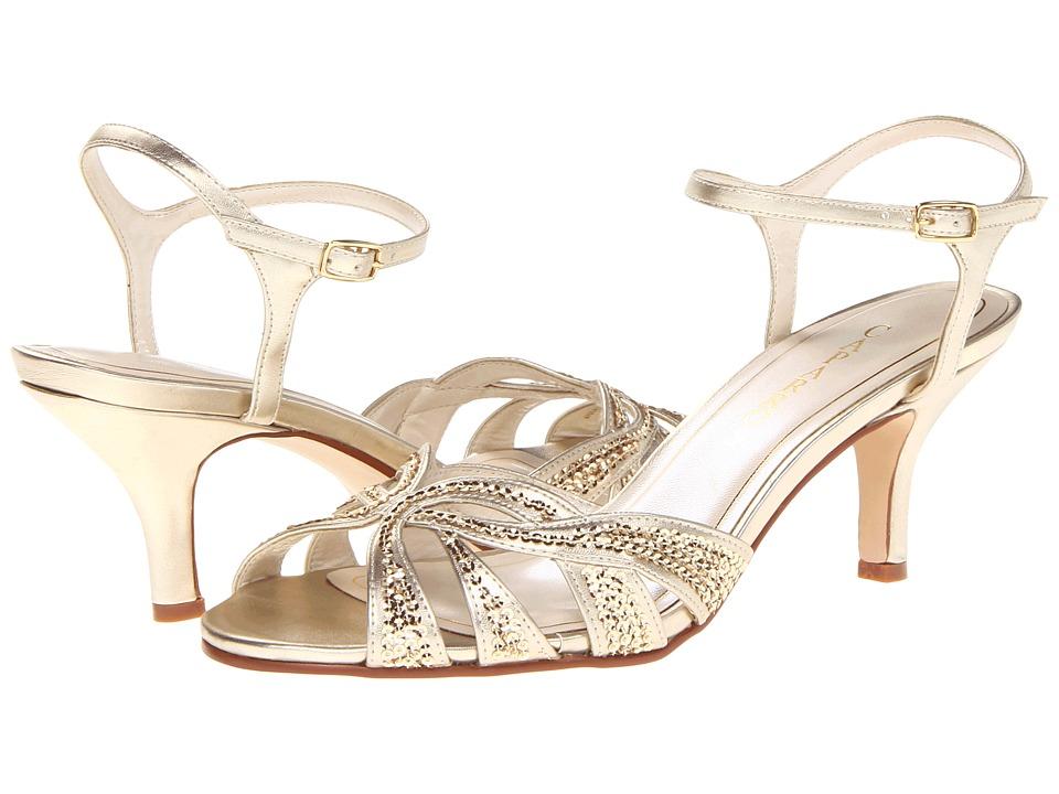 Vintage Style Wedding Shoes, Boots, Flats, Heels Caparros - Heirloom Gold Metallic High Heels $70.99 AT vintagedancer.com