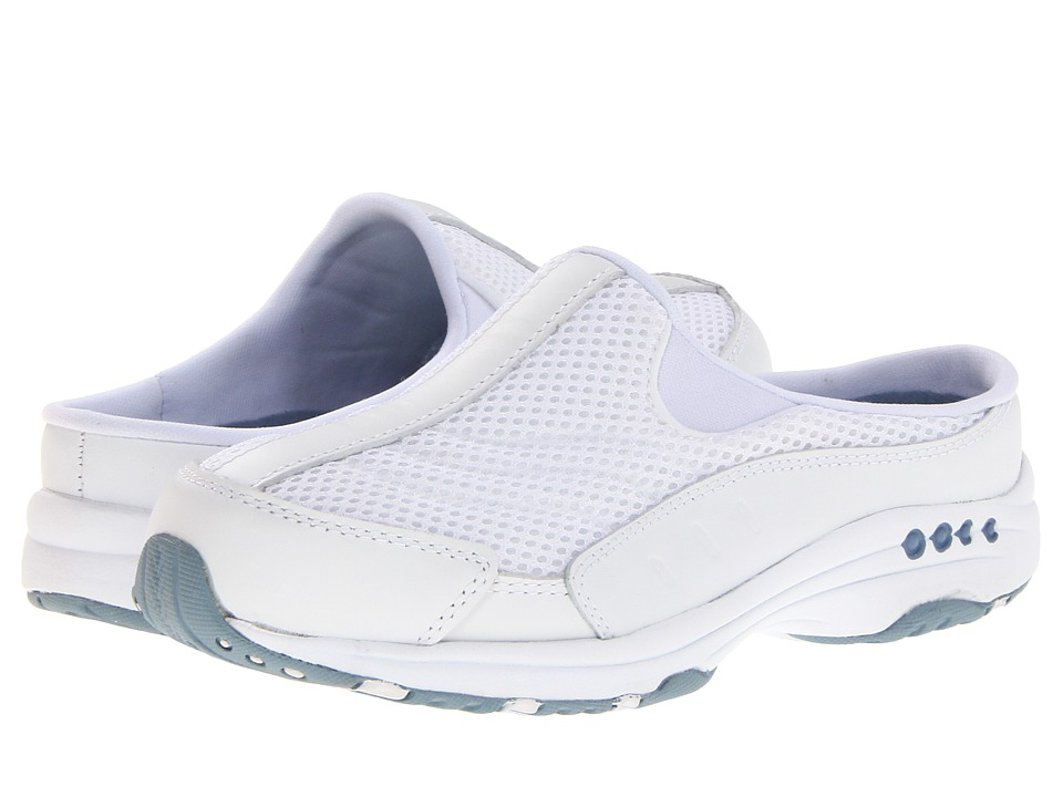 Easy Spirit - Traveltime (White Leather/Light Blue) Womens Clog Shoes