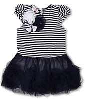 Biscotti - Striped Knit Dress with Netting Skirt in Navy and White (Infant)