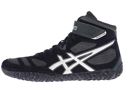 asics aggressor 2.0 White/silver/black shoe wrestling