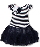 Biscotti - Striped Knit Dress with Netting Skirt in Navy and White (Toddler)