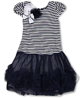 Biscotti - Striped Knit Dress with Netting Skirt in Navy and White (Little Kids)