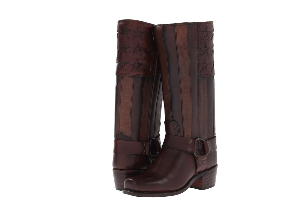 Frye Harness Americana Tall Dark Brown Vintage Pull Up Womens Pull on Boots