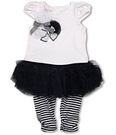 Biscotti - Ship Shape Girls' White Tee with Navy Skirted Striped Legging (Infant)