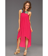 Tbags Los Angeles - Sleeveless High Low Dress with Multicolored Trim