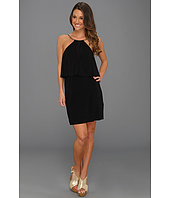 Tbags Los Angeles - High Neck Mini Dress with Ruffle Flap Detail