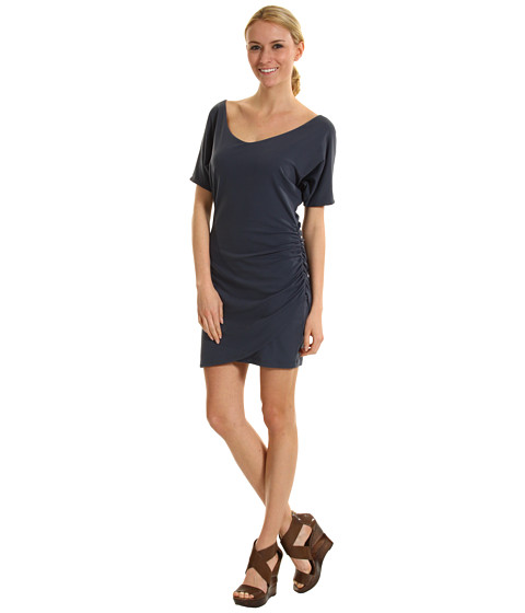 Susana Monaco - Overlap Ruched Dress with V-neckline (Charcoal) - Apparel