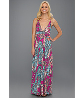 Tbags Los Angeles - Deep V-Neck Long Dress with Braided Strap
