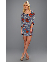 Tbags Los Angeles - Three-Quarter Sleeve Round Neck Tunic Dress