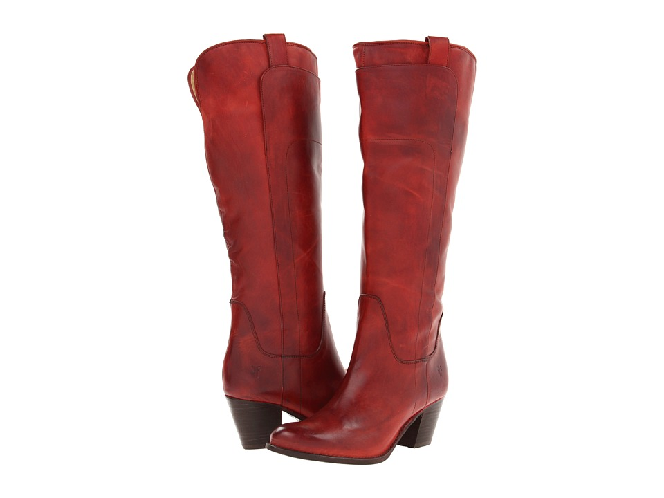 Frye Jackie Tall Riding (Burnt Red Soft Vintage Leather) Cowboy Boots