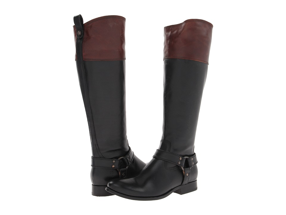 Frye Melissa Harness Inside Zip Black Multi Smooth Full Grain Cowboy Boots