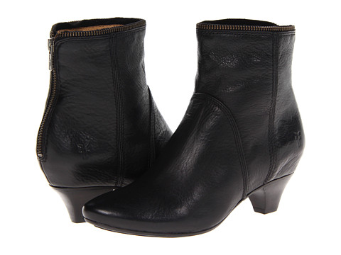 Shop Frye online and buy Frye Steffi Zip Bootie Black Soft Vintage Leather Shoes - Frye - Steffi Zip Bootie (Black Soft Vintage Leather) - Footwear: Take your next step in the confident and attractive Steffi Zip Bootie by Frye. ; Soft vintage leather upper with a burnished finish. ; Kitten heel bootie. ; Top line zipper at collar for added style. ; Back zip closure for easy on and off. ; Comfortable leather lined interior. ; Lightly cushioned leather footbed provides all-day comfort. ; Leather outsole with rubber insert for added traction. Measurements: ; Heel Height: 2 in ; Weight: 11 oz ; Circumference: 10 in ; Shaft: 6 in ; Product measurements were taken using size 7, width B - Medium. Please note that measurements may vary by size.