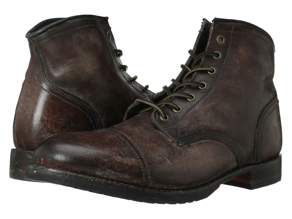 Frye Logan Cap Toe (Dark Brown Polished Stonewash) Cowboy...