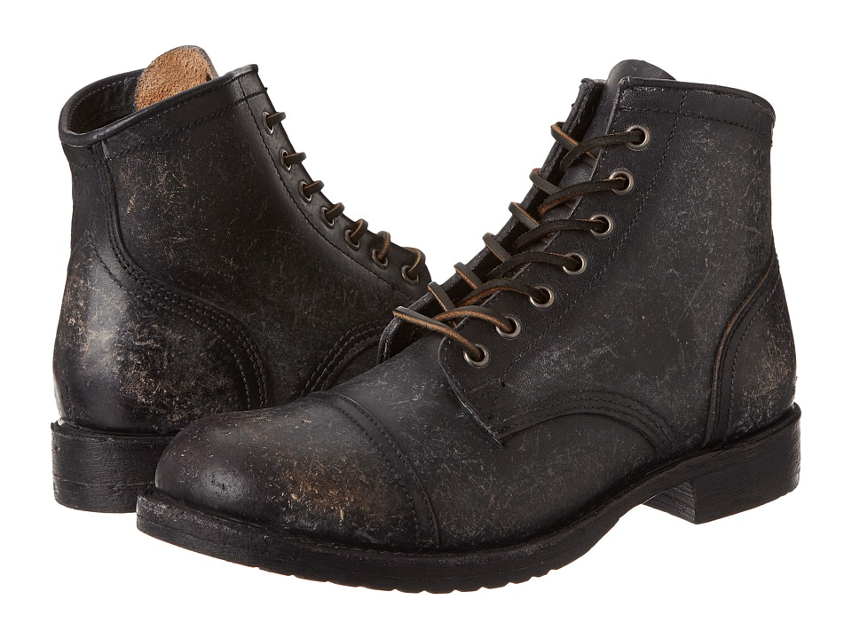 Frye Logan Cap Toe (Black Polished Stonewash) Cowboy Boots