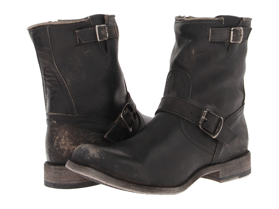 1950s Style Mens Shoes Frye - Smith Engineer Black Stone Wash Cowboy Boots $254.99 AT vintagedancer.com
