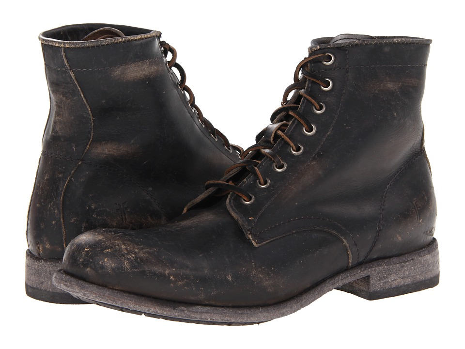Frye - Tyler Lace Up (Black Stone Wash) Mens Lace-up Boots