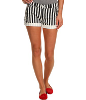 Hudson - Nina Cuffed Short in Black White Ladder Strip