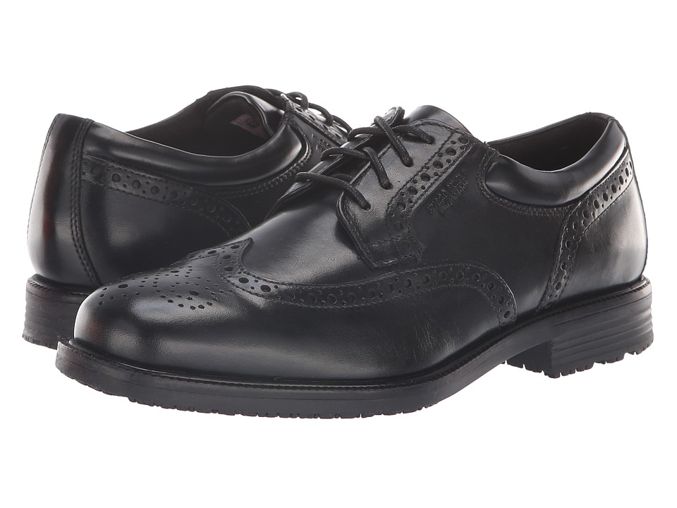 Rockport - Essential Details Waterproof Wing Tip (Black) Mens Lace Up Cap Toe Shoes