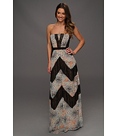 BCBGMAXAZRIA - Print and Lace-Blocked Strapless Gown