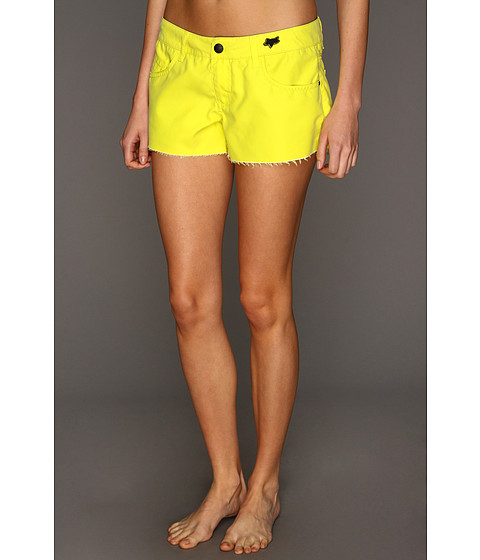 Shop Fox - Syren Boardie Day Glow Yellow  and Fox online - Women, Clothing, Swimwear, Swimsuit Bottoms online Store