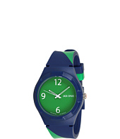 Jack Spade - Navy Green Repp Stripe Rubber Strap with Solid Green Face