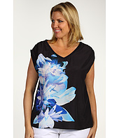 DKNY Jeans - Plus Size Paradise Floral Print Mixed Media Top