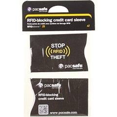 Pacsafe RFIDsleeve 25 RFID Blocking Credit Sleeve (2 pack) (Black) Bags