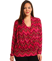 Anne Klein Plus - Zig Zag Print Cowl Neck Top