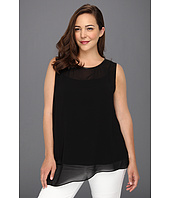 DKNYC - Plus Size Sleeveless Asymmetrical Top w/ Faux Leather Binding at Neckline