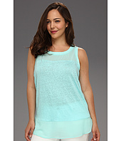 DKNYC - Plus Size Sleeveless Top w/ Chiffon Yoke and Hem