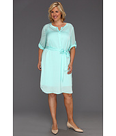 DKNYC - Plus Size 3/4 Sleeve Half Placket Dress