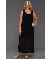 DKNYC - Plus Size Sleeveless Dress w/ Chiffon Hem and Yoke