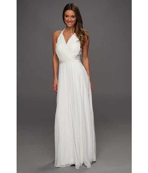 Jessica Simpson - Cross Bodice Halter Gown w/ Contrast Lace (White) - Apparel