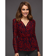 Anne Klein Petite - Petite Abstract Dot Print V-Neck Blouse