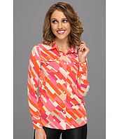 Anne Klein Petite - Color Block Print L/S Shirt
