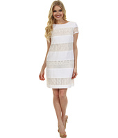 Donna Morgan - Striped Linen-Lace Sheath Dress
