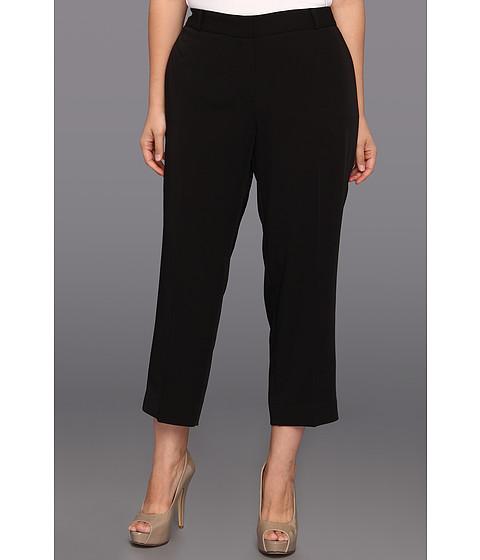 Anne Klein Plus - Plus Size Tech Stretch Slim Leg Pant (Black) - Apparel