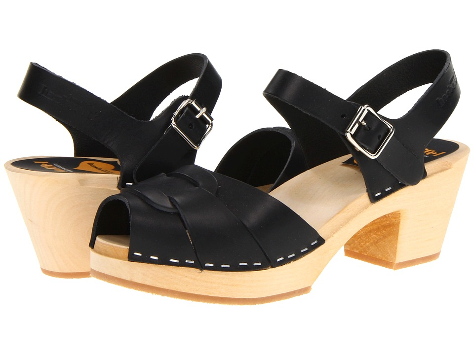 Swedish Hasbeens Peep Toe High (Black/Nature Sole) Women