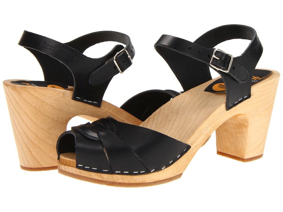 Swedish Hasbeens - Peep Toe Super High (Black/Nature) Women's Sandals