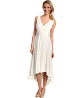 Suzi Chin for Maggy Boutique - Sleeveless V-Neck Pleated Dress With Hi-Lo Hem