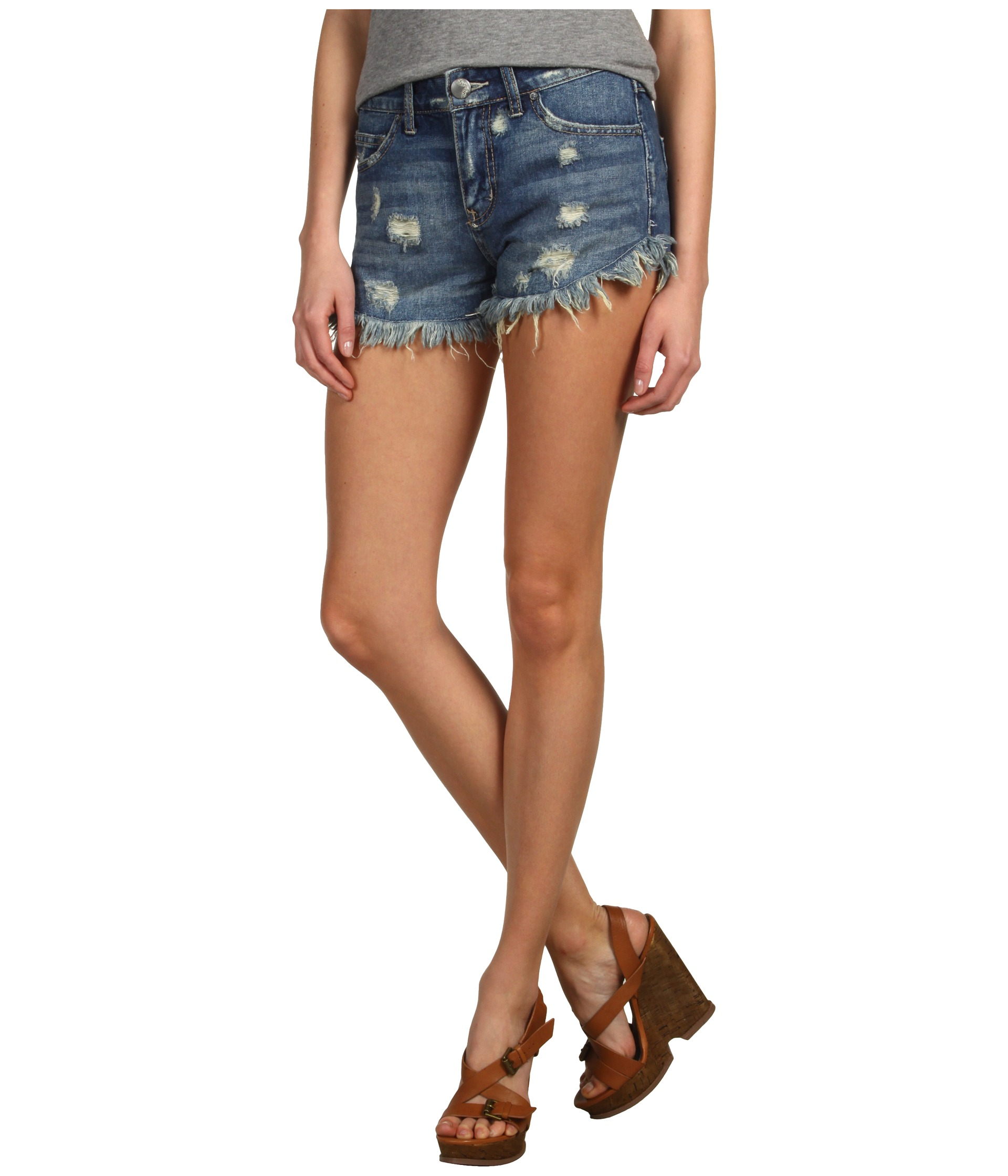 Free People Dolphin Hem Denim Cutoff Short | Shipped Free at Zappos