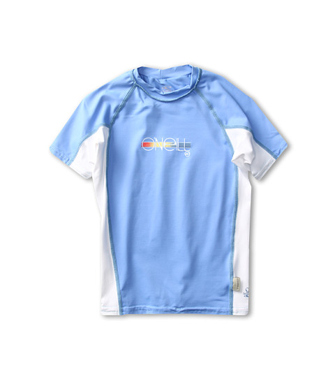 Shop O'Neill Kids - Girls Skins S, S Crew Little Kids, Big Kids Periwinkle, White, Periwinkle  and O'Neill Kids online - Girls, Clothing, Swimwear, Swimsuit Tops online Store
