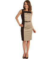 Calvin Klein - Color Block Cotton Belted Sheath Dress