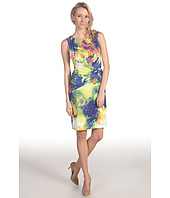 Suzi Chin for Maggy Boutique - Sleeveless Printed Dress w/ Ruched Knot Detail