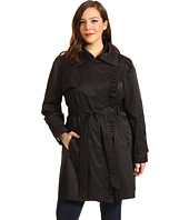 Jessica Simpson - Plus Size Asymmetrical Zip Trench w/ Ruffle