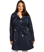 Jessica Simpson - Plus Size Hooded Trench w/ Contrast Piping
